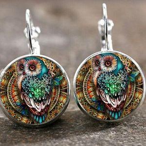 Boho Silver Owl Earrings